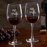 Mr. & Mrs. Wedding Personalized Wine Glass - 18774-W