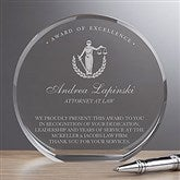 Attorney Round Crystal Personalized Award - 18781