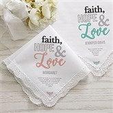 Faith, Hope & Love Personalized Handkerchief - 18788