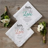 Faith, Hope & Love Personalized Handkerchief - 18788
