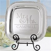 Wedded Pair Personalized Silver Tray - 18812