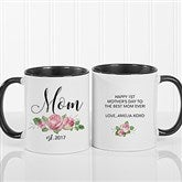 New Mom Personalized Floral Coffee Mug 11 oz.- Black - 18818-B