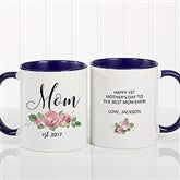 New Mom Personalized Floral Coffee Mug 11 oz.- Blue - 18818-BL