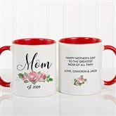 New Mom Personalized Floral Coffee Mug 11 oz.- Red - 18818-R