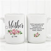New Mom Personalized Floral Coffee Mug 15 oz.- White - 18818-L