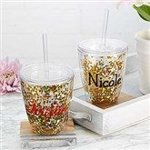 Glitter & Gold Personalized 10oz. Stemless Cup - 18821-S