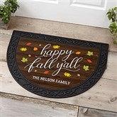 Happy Fall Y'All Personalized Half Round Doormat - 18840
