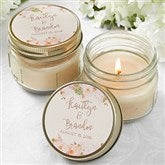 Modern Floral Wedding Personalized Mason Jar Candle Favors - 18913