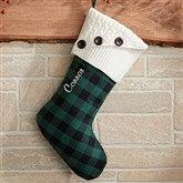 Green Buffalo Check Personalized Christmas Stocking - 19002-G