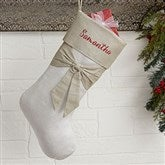 Lustrous Bow Personalized Silver Christmas Stocking - 19005-S