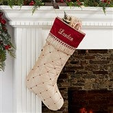Jeweled Holiday Personalized Tan Christmas Stocking - 19006-T