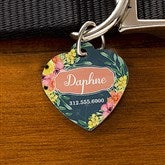 Floral Personalized Dog ID Tag - Heart - 19037-H