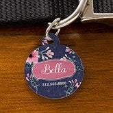 Floral Personalized Dog ID Tag - Circle - 19037-C