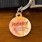 Watercolor Personalized Pet ID Tag - Circle - 19038-C