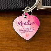 Watercolor Personalized Pet ID Tag - Heart - 19038-H