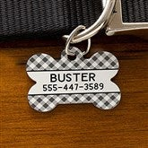 Plaid Personalized Pet ID Tag - Bone - 19039-B