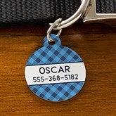 Plaid Personalized Pet ID Tag - Circle - 19039-C