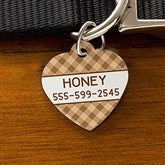 Plaid Personalized Pet ID Tag - Heart - 19039-H