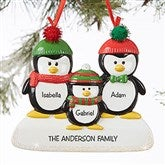 Penguin Family Personalized Ornament- 3 Name - 19062-3
