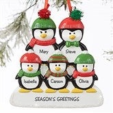Penguin Family Personalized Ornament- 5 Name - 19062-5