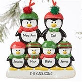Penguin Family Personalized Ornament- 6 Name - 19062-6