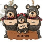 Holiday Bear Family© Personalized Ornament- 3 Names - 19063-3