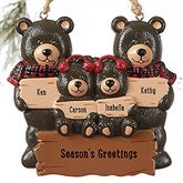 Holiday Bear Family© Personalized Ornament- 4 Names - 19063-4