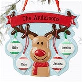Reindeer Family Personalized Ornament- 4 Name - 19064-4