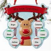 Reindeer Family Personalized Ornament- 6 Name - 19064-6