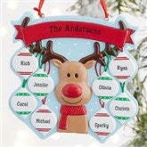 Reindeer Family Personalized Ornament- 8 Name - 19064-8