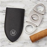 Personalized Leather Cigar Cutter with Pouch - 19089-CU