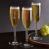 Trendy Vinyl Signature Personalized Champagne Flute - 19093