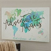 The Journey Personalized World Map Canvas Print - 12
