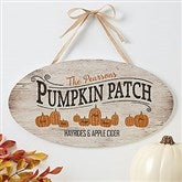 Family Pumpkin Patch Personalized Oval Wood Sign - 19112