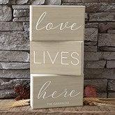 Love Lives Here Personalized Rectangle Shelf Blocks- Set of 3 - 19132