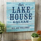 Home Away From Home Personalized Wooden Slat Sign- 12' x 12