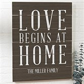 Love Begins At Home Personalized Wooden Slat Sign- 16