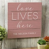 Love Lives Here Personalized Wooden Slat Sign- 12
