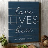 Love Lives Here Personalized Wooden Slat Sign- 16