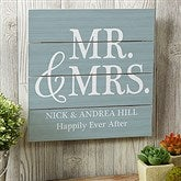 Mr. & Mrs. Personalized Wooden Slat Sign- 12' x 12