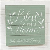 Bless This Home Personalized Wooden Slat Sign- 12