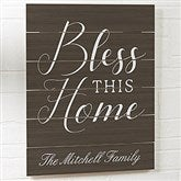 Bless This Home Personalized Wooden Slat Sign- 16