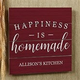 Happiness Is Homemade Personalized Wooden Slat Sign- 12' x 12