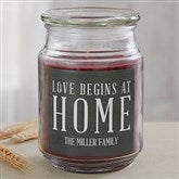 Love Begins At Home Personalized Scented Glass Candle - 19195