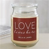 Love Lives Here Personalized Scented Glass Candle - 19198