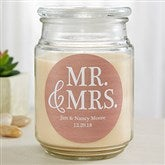 Mr. & Mrs. Personalized Scented Glass Candle Jar - 19199