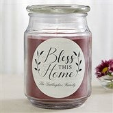 Bless This Home Personalized Scented Glass Candle - 19200