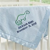 Dinosaur Embroidered Blue Baby Boy Blanket - 19220-B