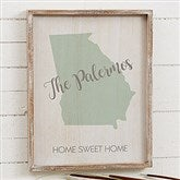 State Silhouette Personalized Barnwood Frame Wall Art- 14' x 18