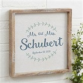 Mr & Mrs Laurel Leaf Whitewashed Frame Wall Art- 12